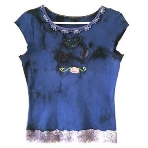 Sisley Tie-Dye  Embroidered/crochet/Lace Top